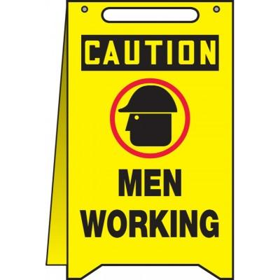 Caution - Men Working OSHA Folding Sign