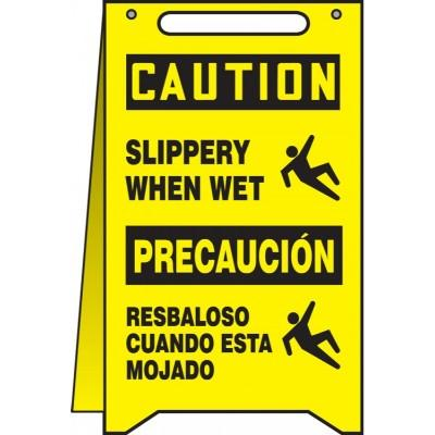 Caution/Precaucion - Slippery When Wet OSHA Folding Sign (Bilingual)