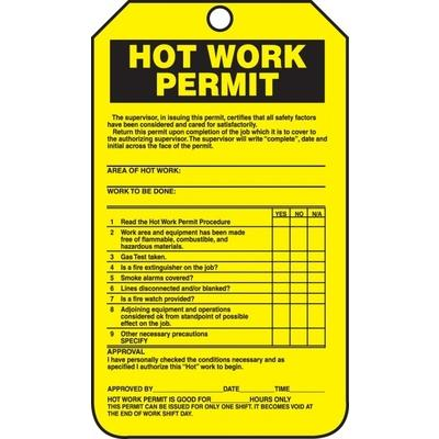 Hot Work Permit - Confined Space Tag | SAFETYCAL, INC