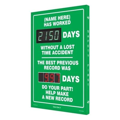 (Name Here) Has Worked _ Days Without a Lost Time Accident, Previous Record Safety Scoreboard