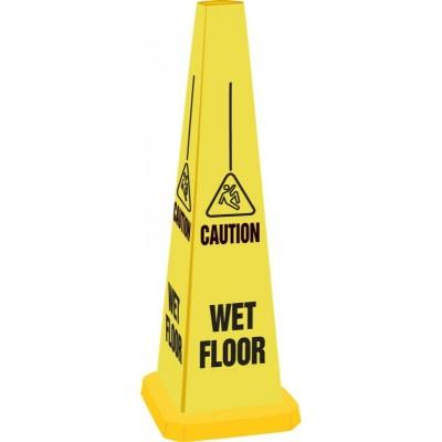 Caution - Wet Floor Quad-Panel Cone