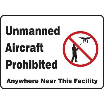 Unmanned Aircraft Prohibited Anywhere Near This Facility Drone Sign