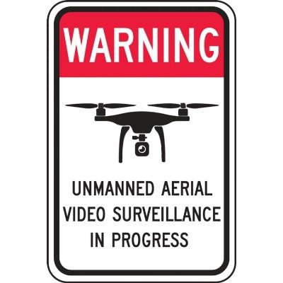 Warning - Unmanned Aerial Video Surveillance in Progress Reflective Drone Sign