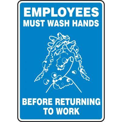 Employees Must Wash Hands Before Returning to Work - Hygiene Sign