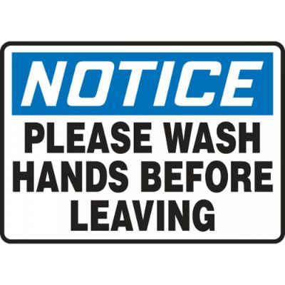Notice - Please Wash Hands Before Leaving OSHA Hygiene Sign
