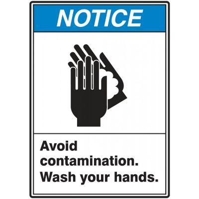 Notice - Avoid Contamination, Wash Your Hands ANSI Hygiene Label