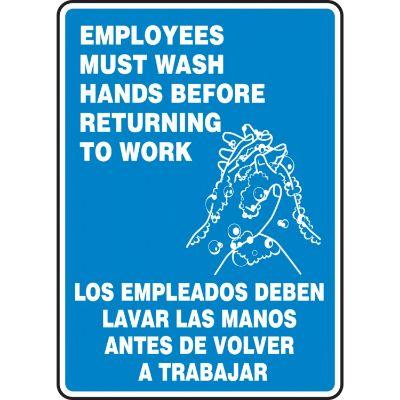 Employees Must Wash Hands Before Returning to Work (Bilingual) Hygiene Sign
