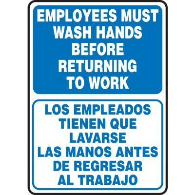 Employees Must Wash Hands Before Returning to Work (Bilingual Blue/White) Hygiene Sign