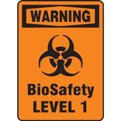 Warning - BioSafety Levels 1-4 OSHA Biohazard Sign