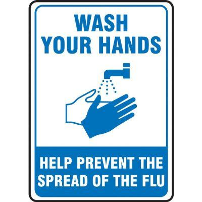 Wash Your Hands - Help Prevent the Spread of Flu Hygiene Sign