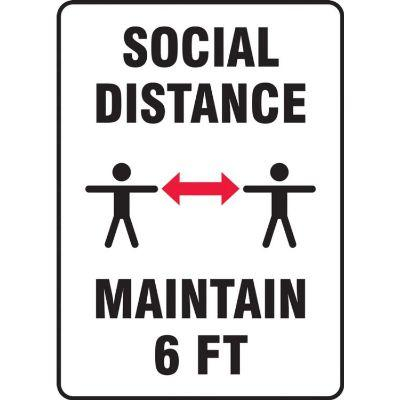 Social Distance Maintain 6-FT (Middle Image) COVID-19 Sign
