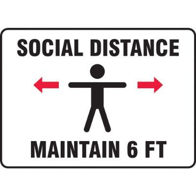 Social Distance Maintain 6-FT (Single Person Image) COVID-19 Sign