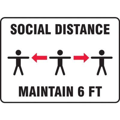 Social Distance Maintain 6-FT (Multi-Person Image) COVID-19 Sign