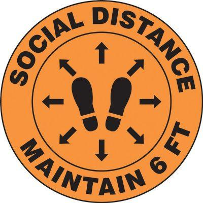 Social Distance, Maintain 6-FT (Footprint Image) - Floor Sign
