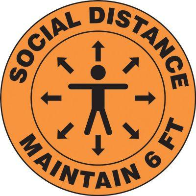 Social Distance, Maintain 6-FT (Person Image) - Floor Sign
