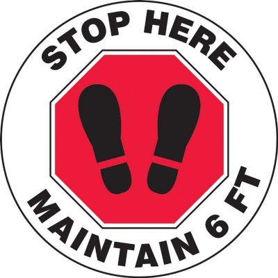 Stop Here, Maintain 6-FT - Floor Sign