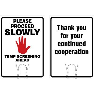 Please Proceed Slowly, Temp Screening Ahead COVID-19 Cone Top Sign