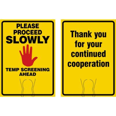 Please Proceed Slowly, Temp Screening Ahead (yellow) COVID-19 Cone Top Sign
