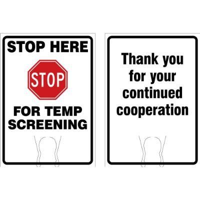 Stop Here For Temp Screening COVID-19 Cone Top Sign