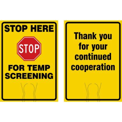Stop Here For Temp Screening (yellow) COVID-19 Cone Top Sign