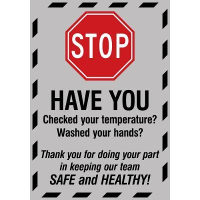 Stop - Have You Checked Your Temperature COVID-19 Floor Sign