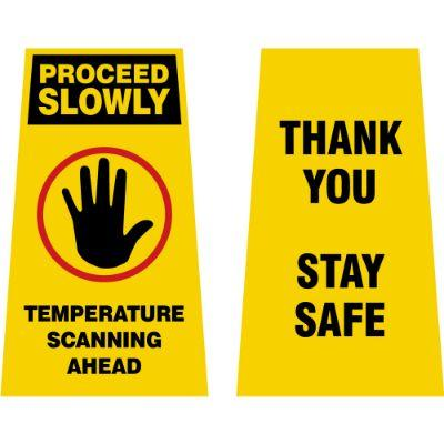 Proceed Slowly - Temperature Scanning Ahead COVID-19 2X Fold-Up Sign
