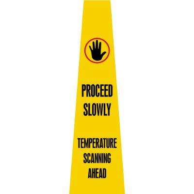 Proceed Slowly - Temperature Scanning Ahead COVID-19 Quad Panel Sign