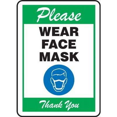 Please Wear Face Mask Thank You (Green) COVID-19 Sign