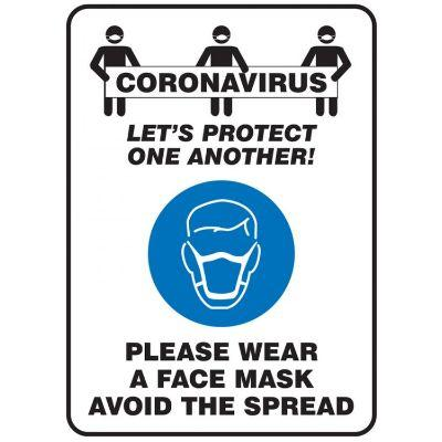 Coronavirus Let's Protect One Another - Please Wear a Face Mask COVID-19 Sign