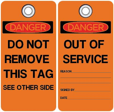 Danger - Out of Service (Reason) OSHA Lockout Tag