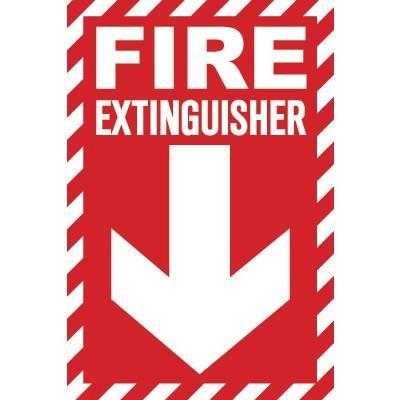 Fire Extinguisher Glow Sign (Arrow Down Striped)