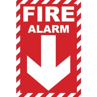 Fire Alarm Glow Sign (Arrow Down) | SAFETYCAL, INC