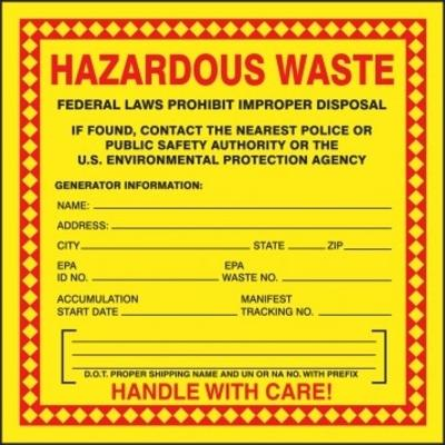 Hazardous Waste - Handle with Care (DOT Proper Shipping Name Fill-in) Hazardous Waste Label